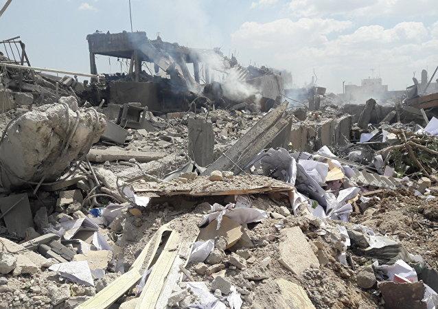 ضربات التحالف الثلاثي التي طالت مركز البحوث العلمية في برزة، سوريا 14 أبريل/ نيسان 2018