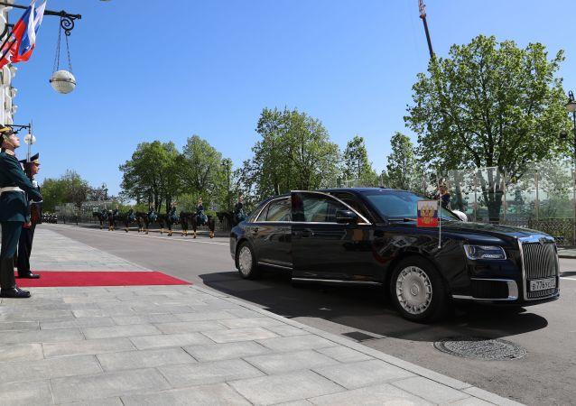 الموكب الرئاسي لـ فلاديمير بوتين على الساحة سابورنايا في الكرملين، موسكو 7 مايو/ أيار 2018