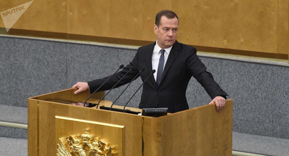 دميتري مدفيديف يلقى كلمة أمام مجلس النواب الروسي قبل تصويت لاختيار رئيس الوزراء، 8 مايو/أيار 2018