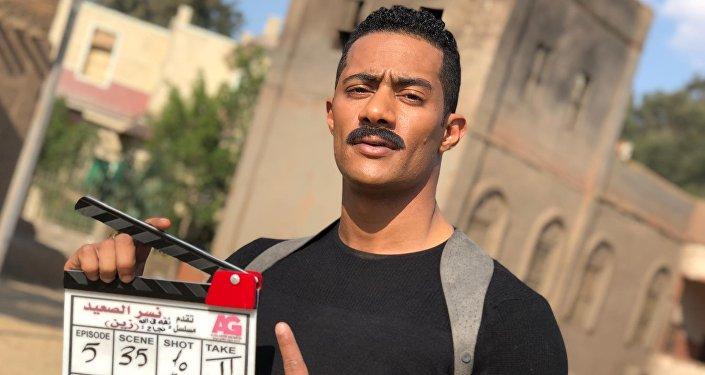 الممثل المصري محمد رمضان في كواليس تصوير مسلسل نصر الصعيد