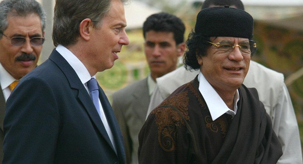 العقيد معمر القذافي - توني بلير