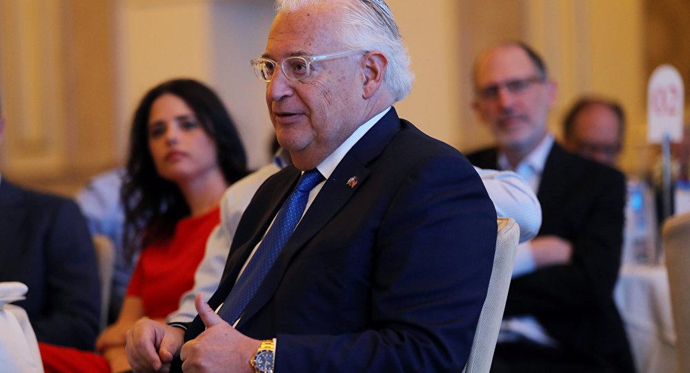 السفير الأمريكي إلى إسرائيل ديفيد فريدمان في حفل استقبال أقامه الاتحاد الأرثوذكسي في القدس قبل افتتاح السفارة الأمريكية الجديدة في القدس، الضفة الغربية 14 مايو/ أيار 2018