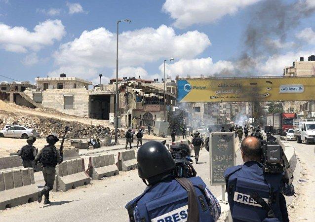 اشتباكات حاجز قلنديا، رام الله، الضفة الغربية، فلسطين 14 مايو/ أيار 2018