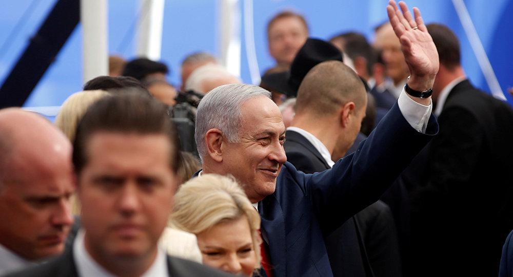 رئيس الوزراء الإسرائيلي بنيامين نتنياهو في مراسم افتتاح السفارة الأمريكية الجديدة في القدس، 14 مايو/ أيار 2018