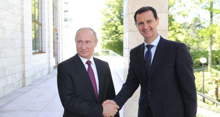 الرئيس فلاديمير بويتن يستقبل الرئيس السوري بشار الأسد في سوتشي، روسيا 17 مايو/ أيار 2018