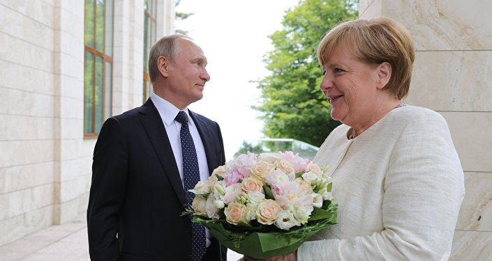 لقاء الرئيس الروسي فلاديمير بوتين والمستشارة الألمانية انجيلا ميركل
