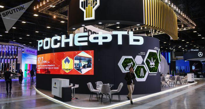 جناح شركة النفط روسنفط الروسية في منتدى سان بطرسبورغ الاقتصادي الدولي 2018 (24-26 مايو/ أيار)