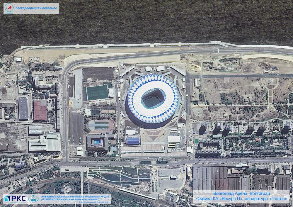 ملعب فولغو غراد أرينا أحد ملاعب كأس العالم 2018 من المركبة الفضائية الروسية  Resurs-P