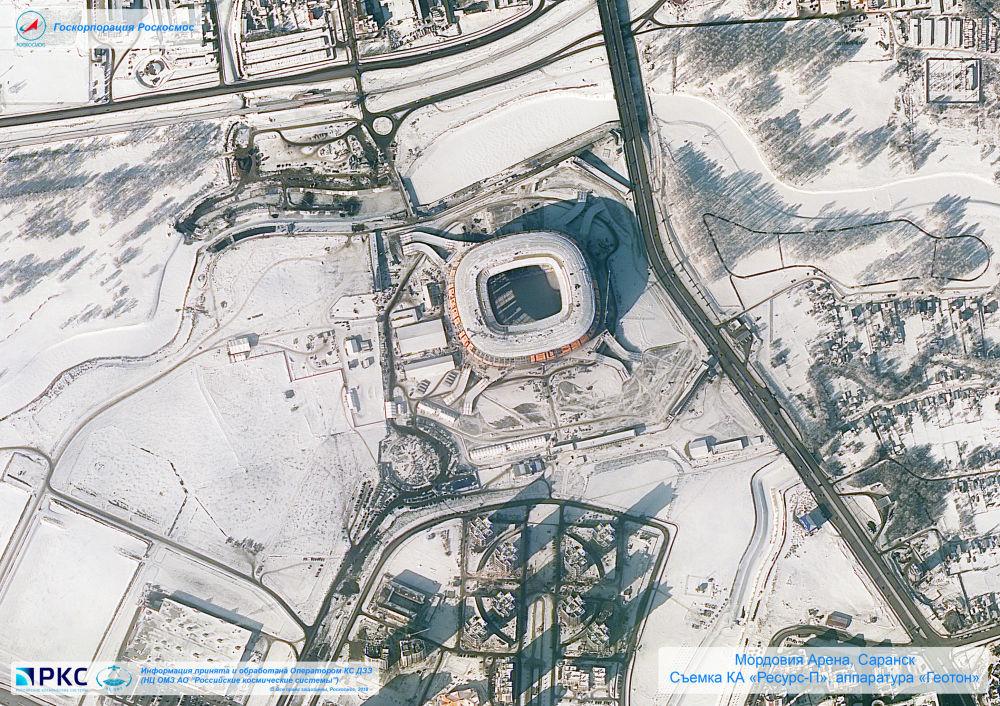 ملعب موردوفيا أرينا أحد ملاعب كأس العالم 2018 من المركبة الفضائية الروسية  Resurs-P