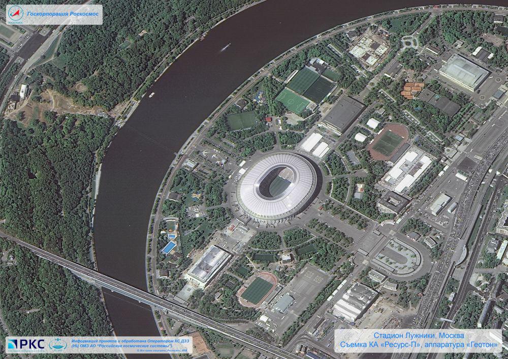 ملعب لوجنيكي أحد ملاعب كأس العالم 2018 من المركبة الفضائية الروسية  Resurs-P