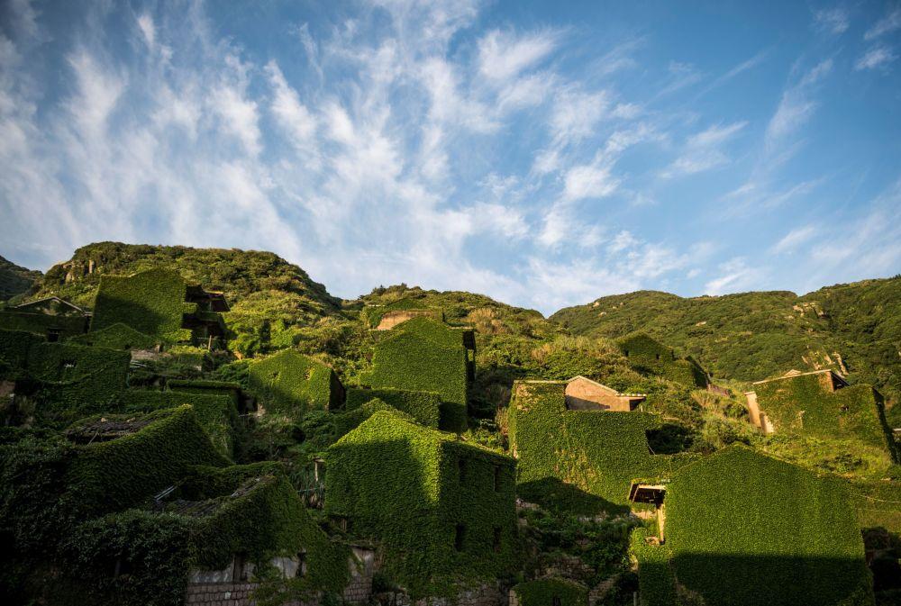 منازل مهجورة مغطاة بالنباتات الكثيفة في قرية هوتاون على جزيرة شينغشان بإقليم تشيجيانغ الشرقي الصيني، 1 يونيو/ حزيران 2018