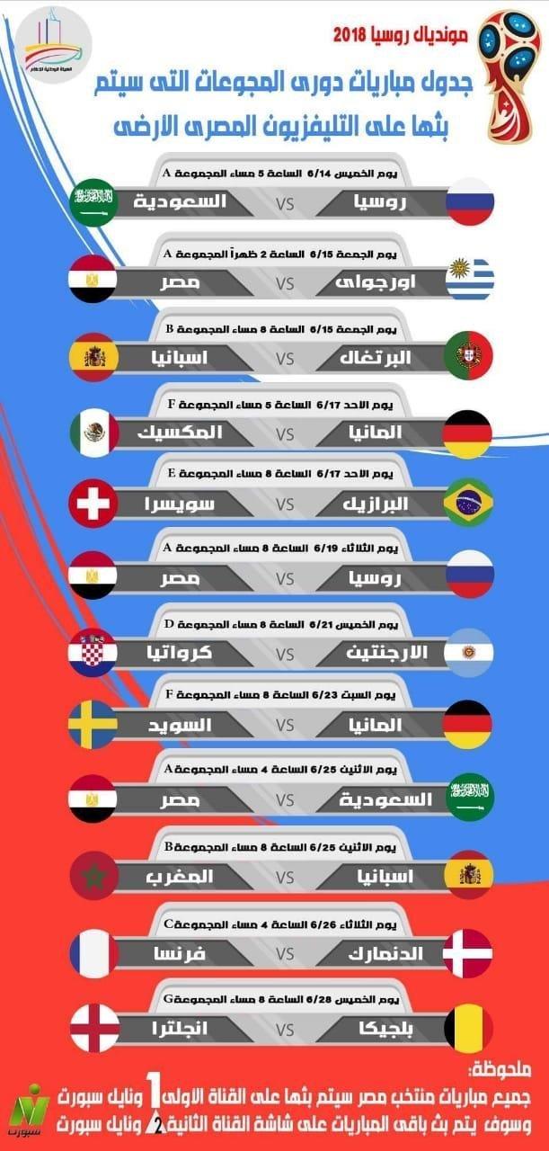 جدول مباريات كأس العالم