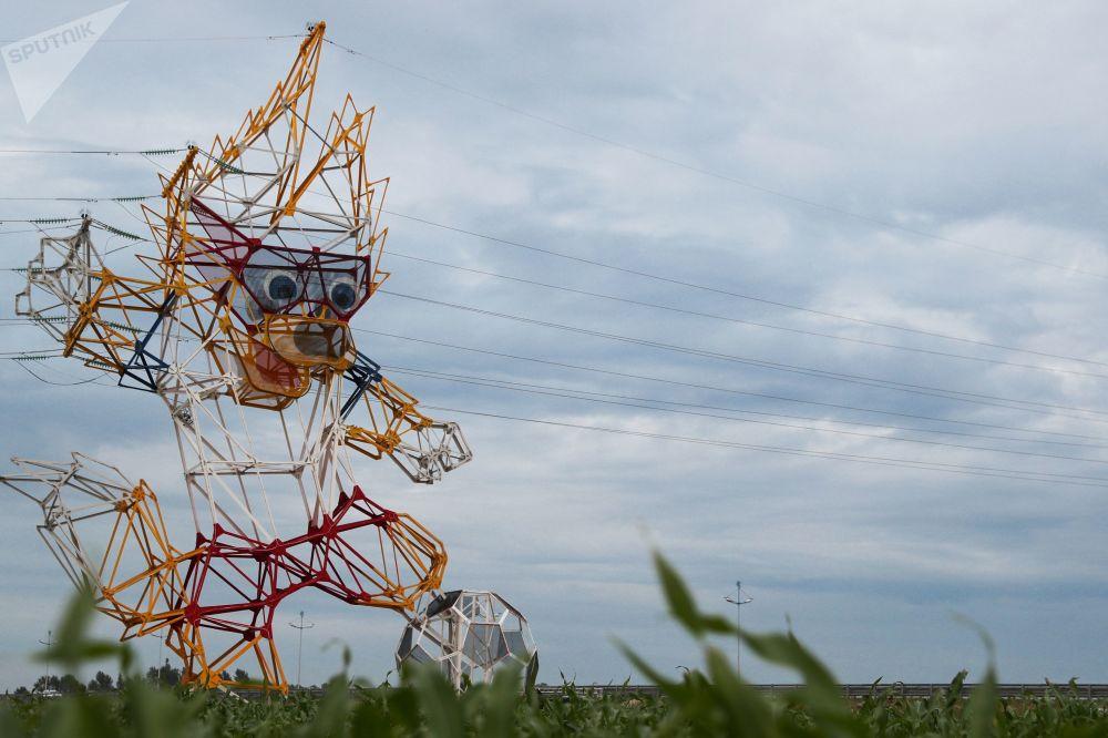 زابيفايكا - تميمة كأس العالم فيفا روسيا  2018 في منطقة كالينينغراد، يونيو/ حزيران 2018