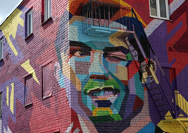 كريستيانو رونالدو في كازان فن الرسم على الحائط