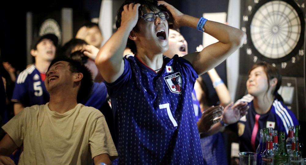 مشجعون يابانيون - مباراة اليابان و بلجيكا - ملعب روستوف أرينا - روستوف على الدون (روستوف نا دونو) - كأس العالم 2018 - اليابان ، 2 يوليو/ تموز 2018