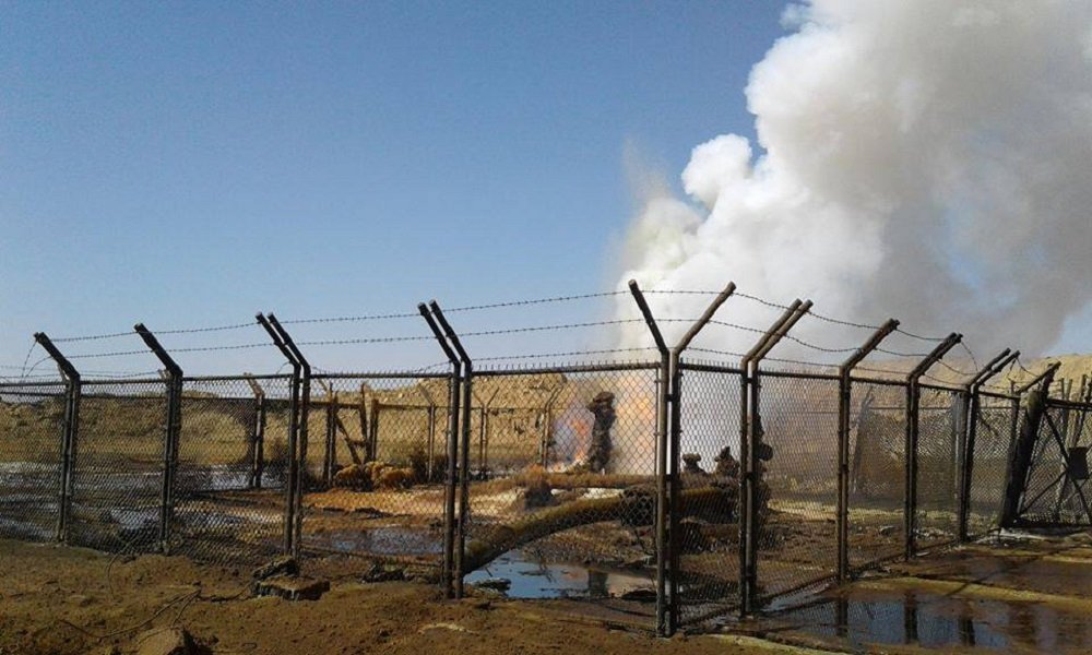 سوريا - النفط السوري - حقل نفط مشتعل جراء الأعمال الإرهابية