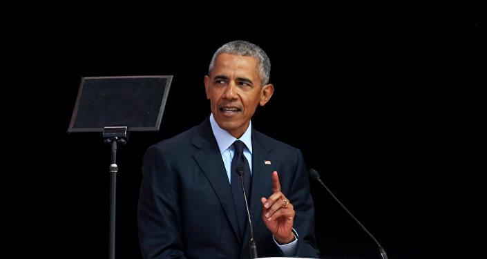 الرئيس الأمريكي السابق باراك أوباما يلقي محاضرة نلسون مانديلا السنوية الـ 16، في جوهانسبرج بجنوب أفريقيا، 17 يوليو/تموز 2018