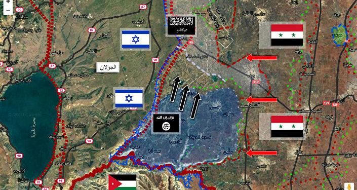 المناطق الجديدة التي سيطر عليها داعش في وادي اليرموك بعد تسلمها من النصرة