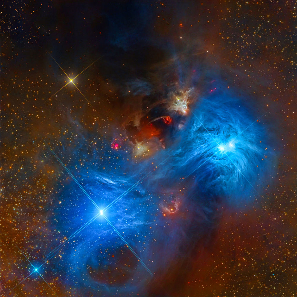 صورة  لسديمNGC 6726 and NGC 6727، التقطت بواسطة تلسكوب RCOS 16 من قبل الباحثين مارك هانسون ووارين كيلر وستيف مازلين وريكس باركر وتومي تسي وديفيد بليسكو وبيتي برولكس