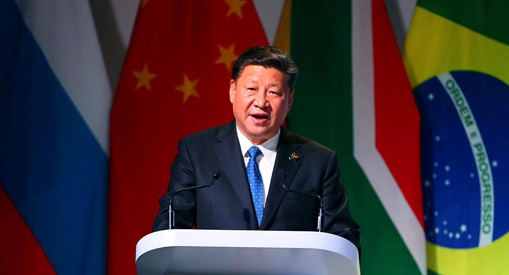 الرئيس الصيني شي جين بينغ في قمة بريكس في جوهانسبرغ، 25 يوليو/تموز 2018