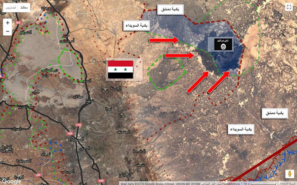 خارطة تقسيم نفوذ داعش والجيش السوري في بادية السويداء