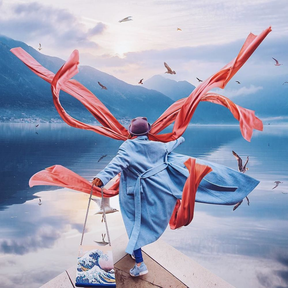 Снимок фотографа Кристины Макеевой из серии Девушка в платье, снятый в городе Котор, Черногория
