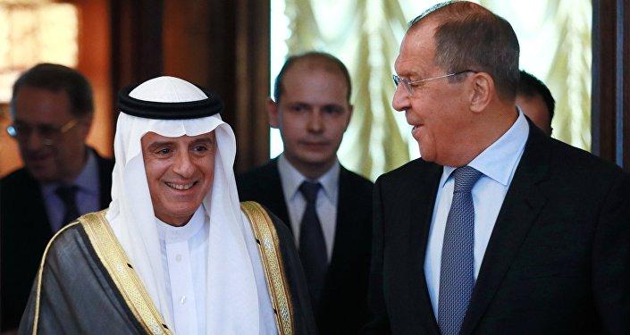 وزير الخارجية الروسي، سيرغي لافروف، في مستهل لقائه نظيره السعودي، عادل الجبير