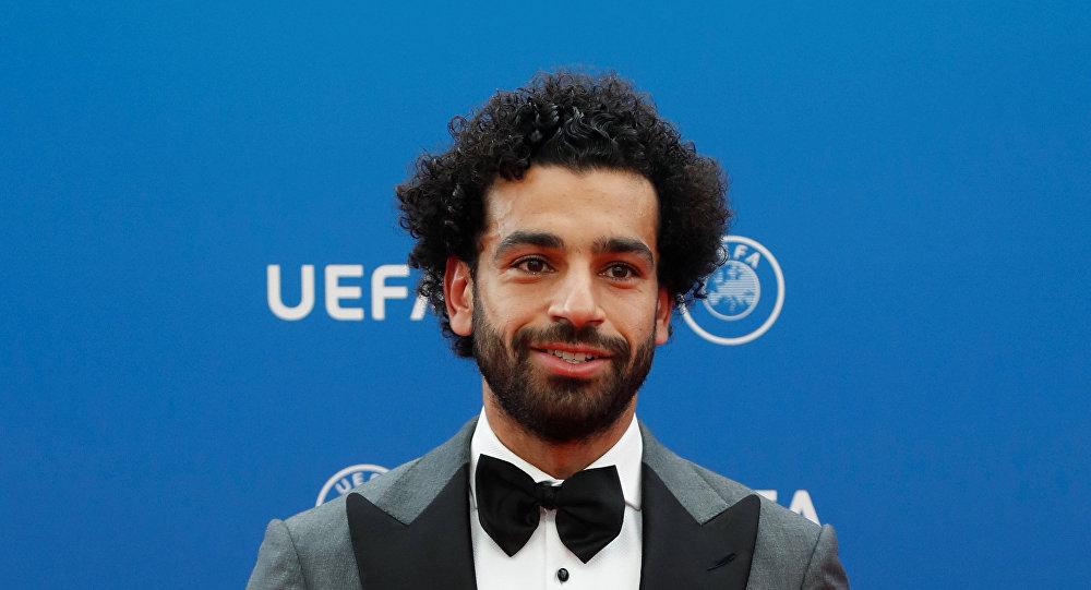 لاعب كرة القدم المصري محمد صلاح في حفل الاتحاد الأوروبي لكرة القدم لاختيار أفضل لاعب في أوروبا في موسم 2017.
