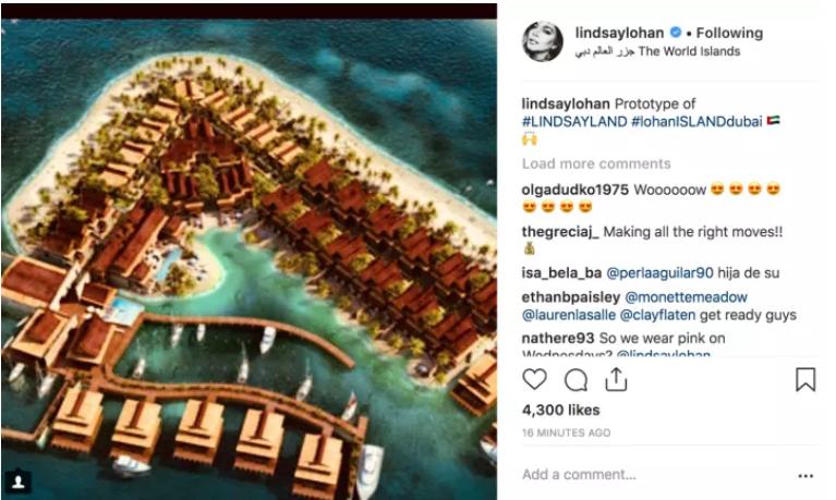مخطط لجزيرة الممثلة الأمريكية ليندسي لوهان في دبي