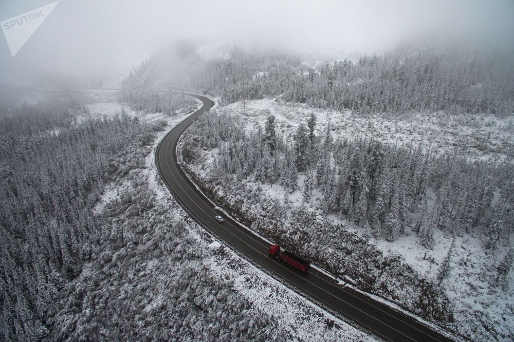 الثلج في إقليم كراسنويارسك الروسي
