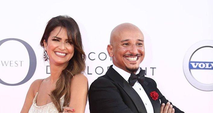 الممثل المصري الكوميدي خالد منصور وزوجته في افتتاح مهرجان الجونة السينمائي الثاني، 20 سبتمبر/أبلول 2018