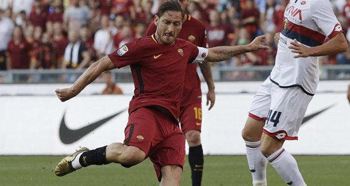 لاعب كرة القدم فرانشيسكو توتي، لاعب نادي فريق روما، 28 مايو/ أيار 2017