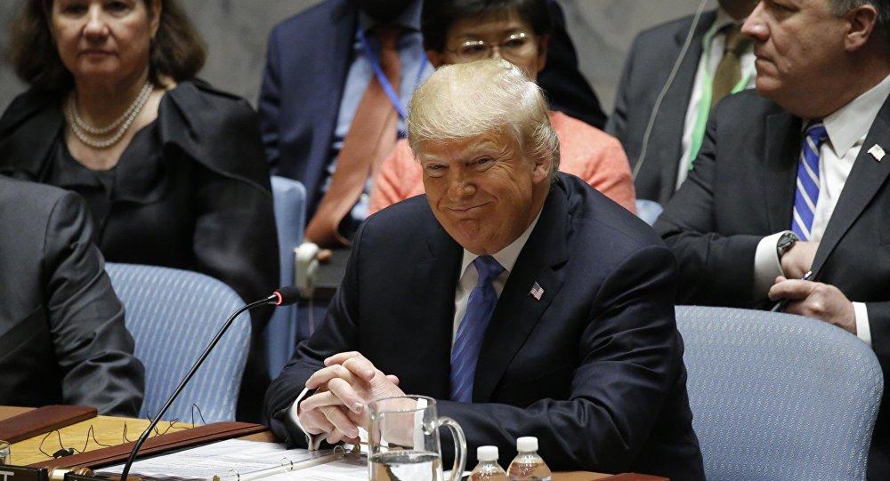 الرئيس الأمريكي دونالد ترامب خلال جلسة مجلس الأمن التي يترأسها