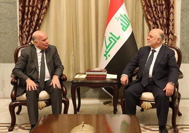 حيدر العبادي مع المرشح للرئاسة العراقية فؤاد حسين