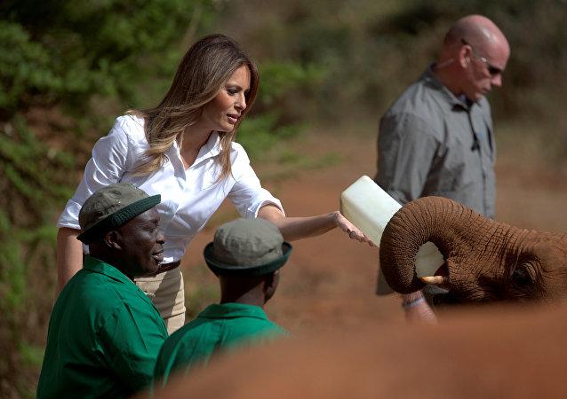 ميلانيا ترامب تطعم فيل صغير في كينيا، 5 أكتوبر/تشرين الأول 2018
