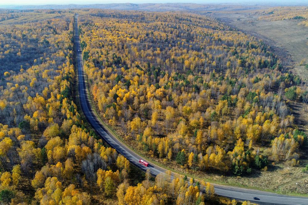 الطريق السريع ينيسي في إقليم كراسنويارسك الروسي