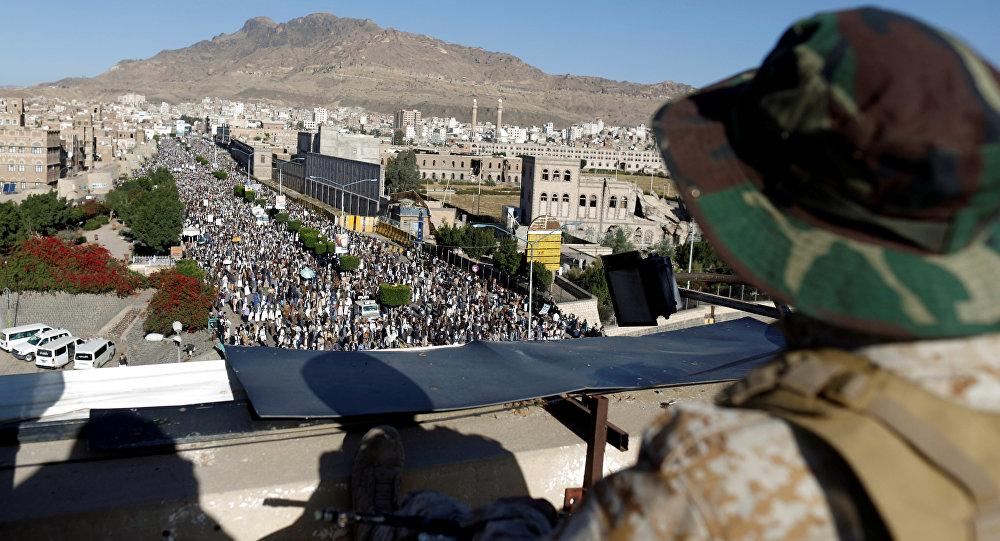 حوثيون (أنصار الله) يشاركون في مظاهرة في مدينة صنعاء، اليمن 5 أكتوبر/ تشرين الأول 2018
