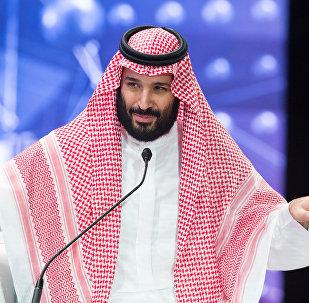 ولي العهد السعودي الأمير محمد بن سلمان يتحدث خلال منتدى مبادرة الاستثمار المستقبلية في الرياض