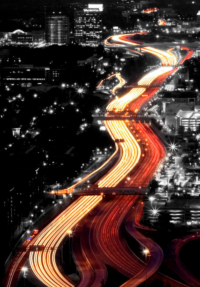 ازدحام السيارات في مدينة أتلانتا، الولايات المتحدة الأمريكية