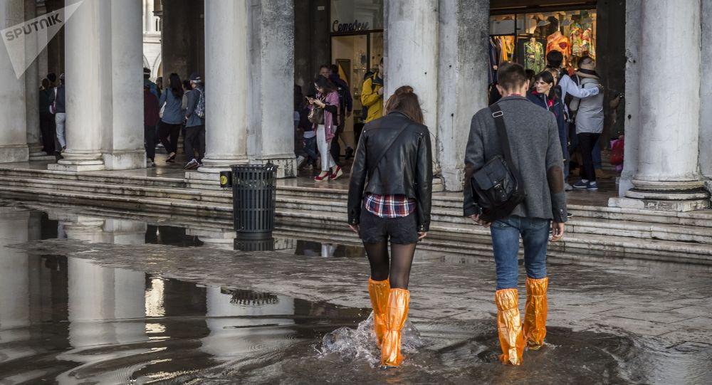 فينيسيا (البندقية) ما بعد الفيضانات، ساحة القديس مرقس (سان ماركو)، إيطاليا