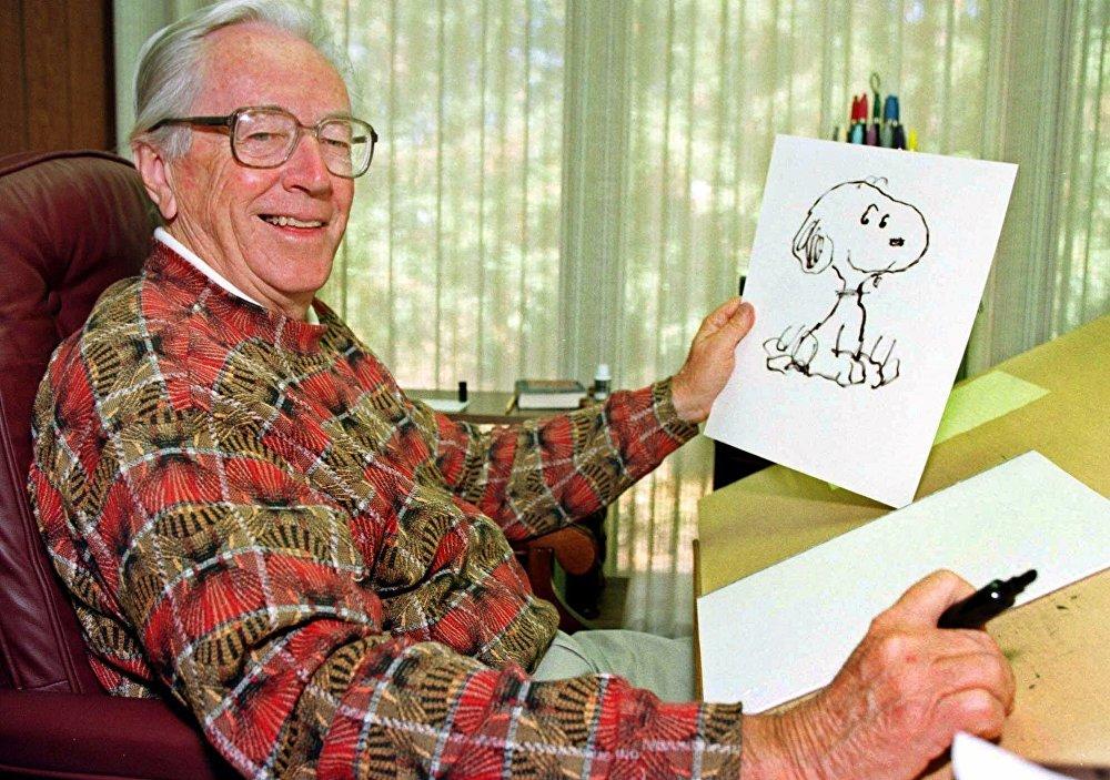 رسام أفلام الكرتون والكاريكاتير الأمريكي شارلز شولتس، 2000