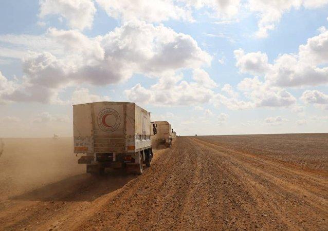 برعاية روسية..  مساعدات الهلال الأحمر السوري تصل إلى مخيم الركبان