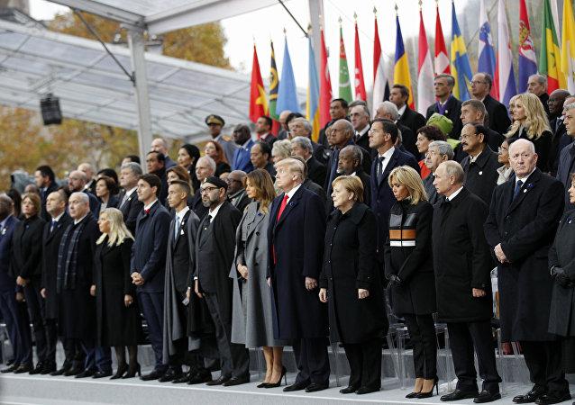 زعماء العالم في الاحتفال بذكرى الحرب العالمية الأولى في العاصمة الفرنسية باريس