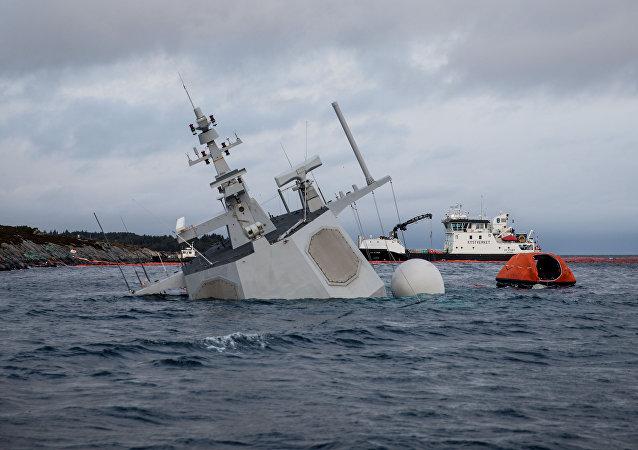 الفرقاطة النرويجية لحظة غرقها