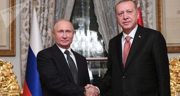 الرئيس الروسي فلاديمير بوتين والرئيس التركي رجب طيب أردوغان خلال اللقاء في اسطنبول، تركيا 19 نوفمبر/ تشرين الثاني 2018