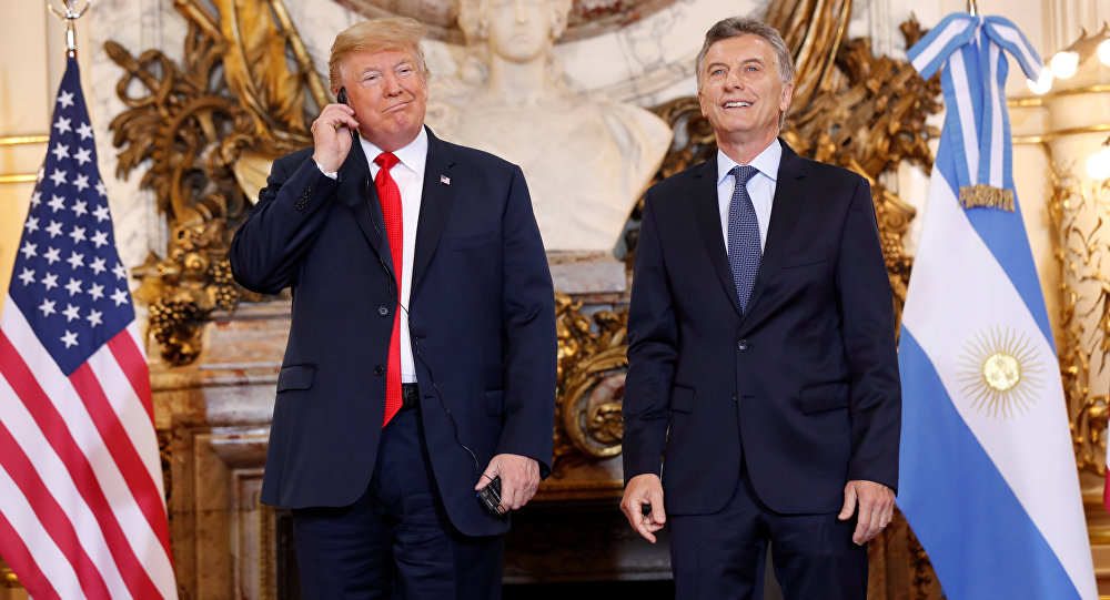 الرئيس الأمريكي دونالد ترامب والرئيس الأرجنتيني ماوريسيو ماكري في القصر الرئاسي، 30 نوفمبر/ تشرين الثاني 2018