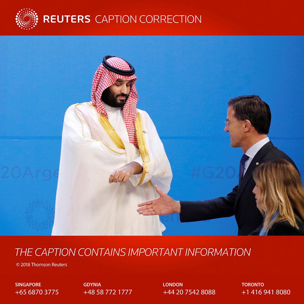 رويترز تنشر تصحيحا لتعليق الصورة الخاصة بمحمد بن سلمان ورئيس الوزراء الهولندي