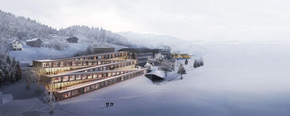 مشروع معماري لفندق Audemars Piguet Hôtel des Horlogers في سويسرا، الذي فاز في فئة مشروع المستقبل للتنمية والترفيه