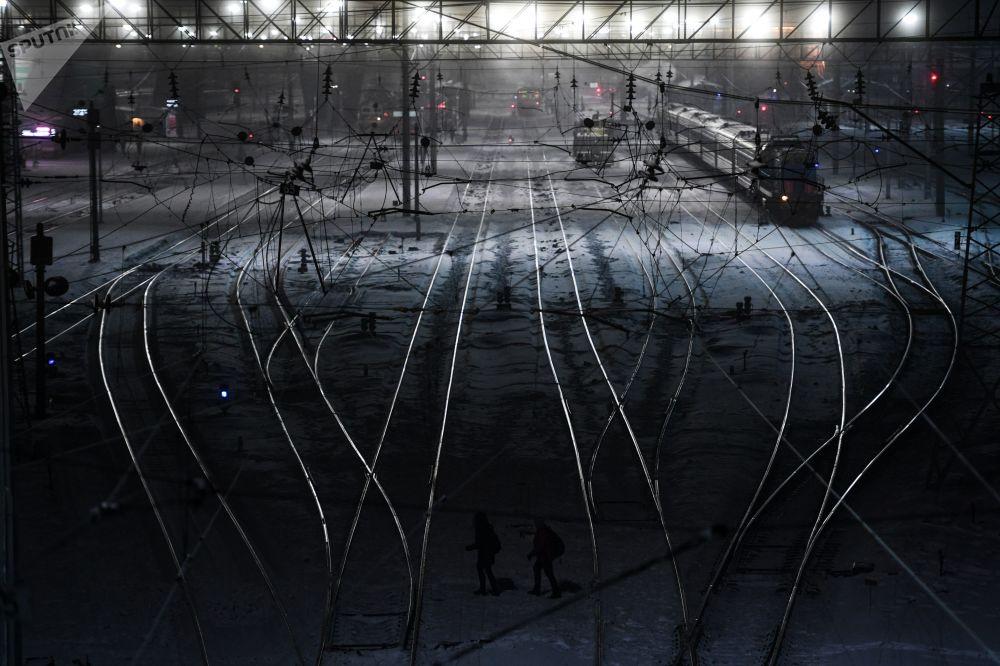 القطارات في محطة سكة حديد نوفوسيبيرسك - غلافني في نوفوسيبيرسك