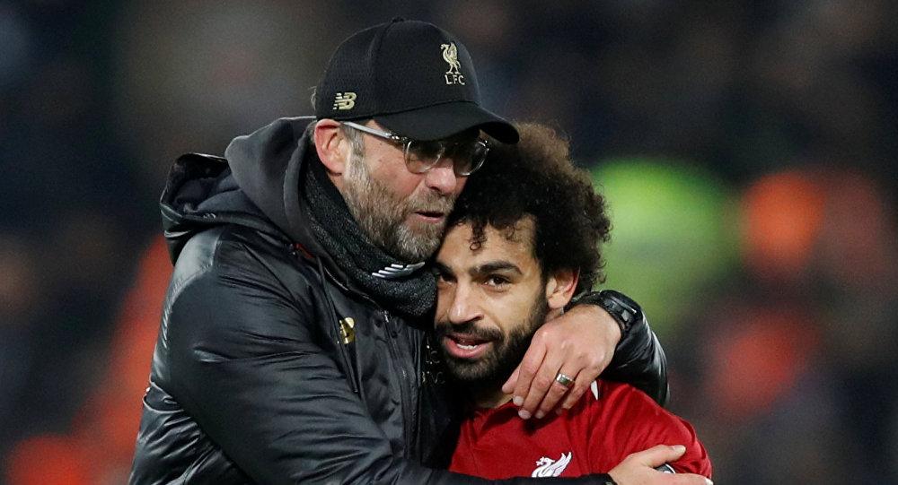 محمد صلاح مع مدرب ليفربول يورغن كلوب